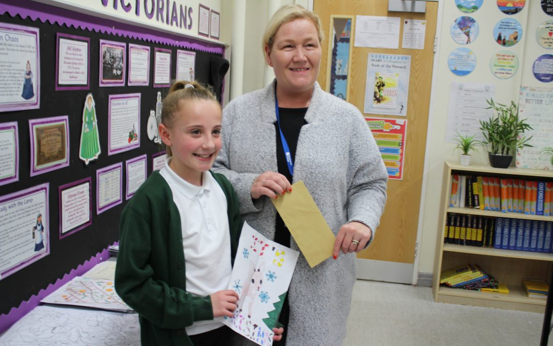 School pupil is top of the Christmas card list
